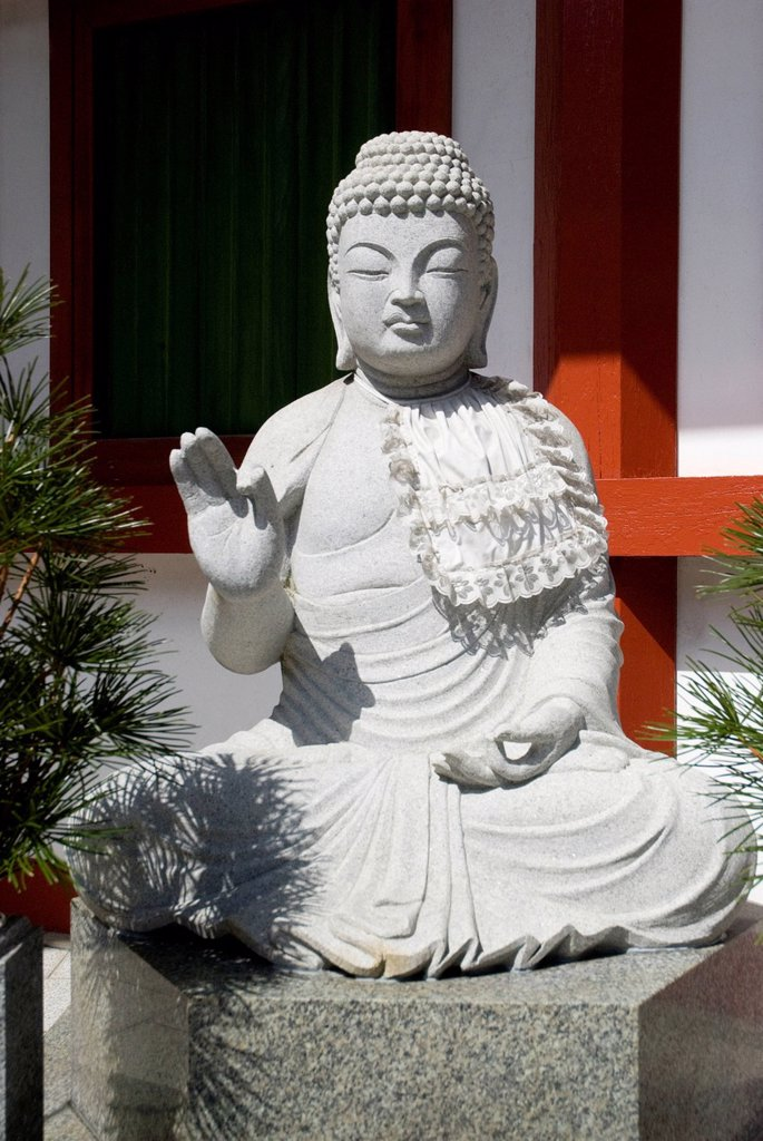 Stock Photo: 1889R-80313 White stone buddha, koyasan, wakayama, japan
