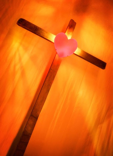 Heart on cross : Stock Photo