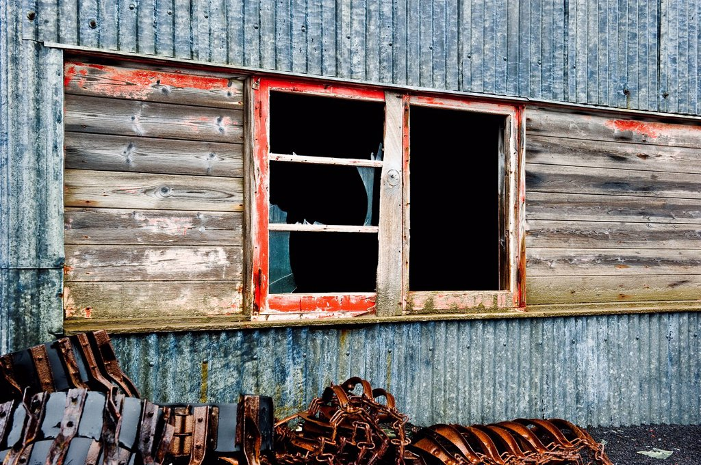 Stock Photo: 1889R-80999 Broken windows on the side of a weathered wooden building, antarctica