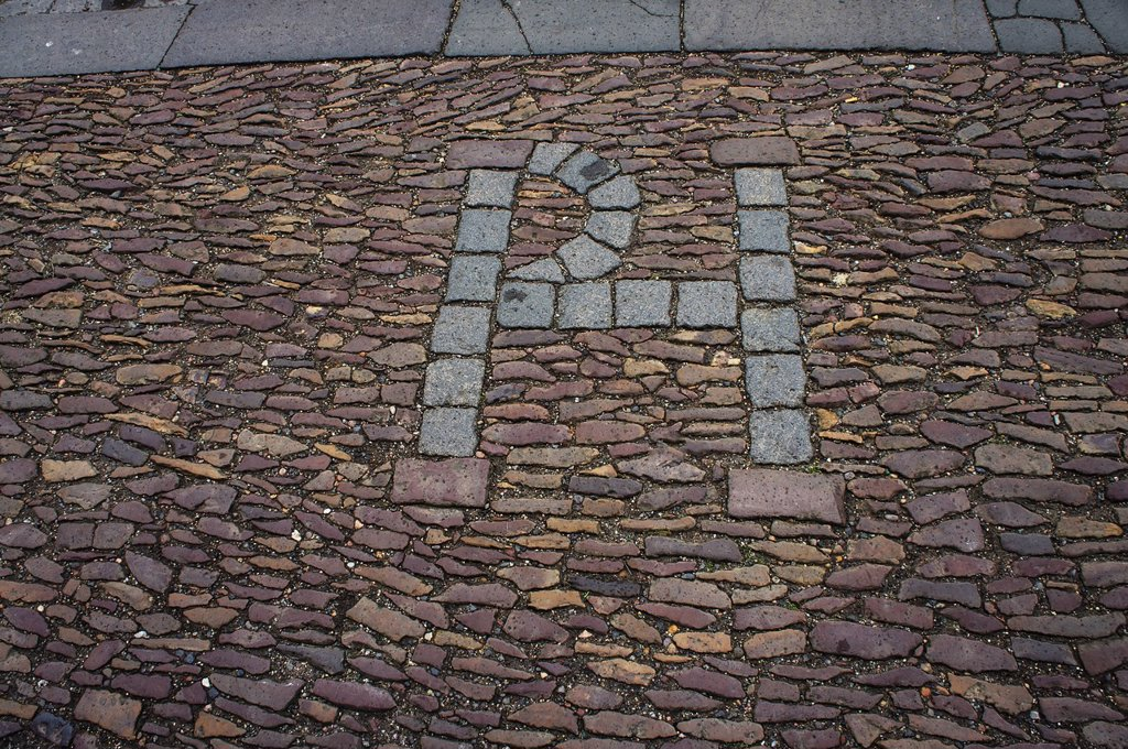 Marks the spot where patrick hamilton was burned at the stake, st. andrews scotland : Stock Photo