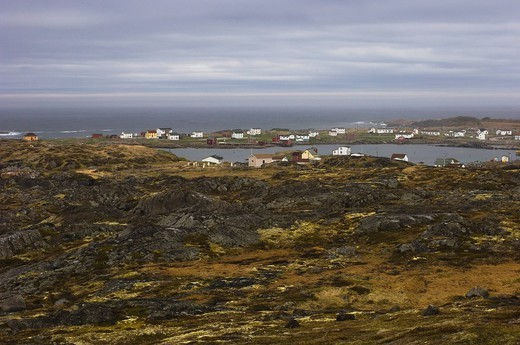 Stock Photo: 1889R-81929 Fishing village on the coast, tilting, newfoundland, canada