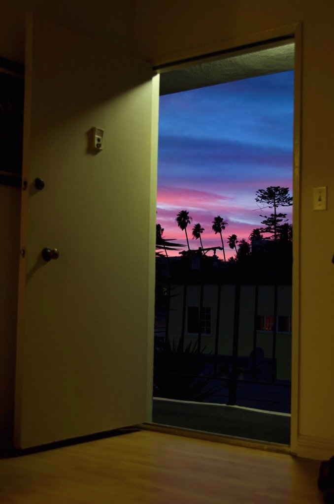 Stock Photo: 1889R-81933 Looking out the door to a beautiful sunset, santa monica, california, united states of america