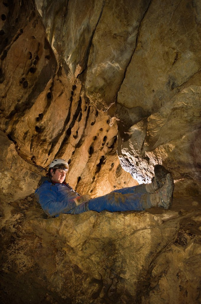 Stock Photo: 1889R-82419 Caving in the rocky mountains, canmore, alberta, canada