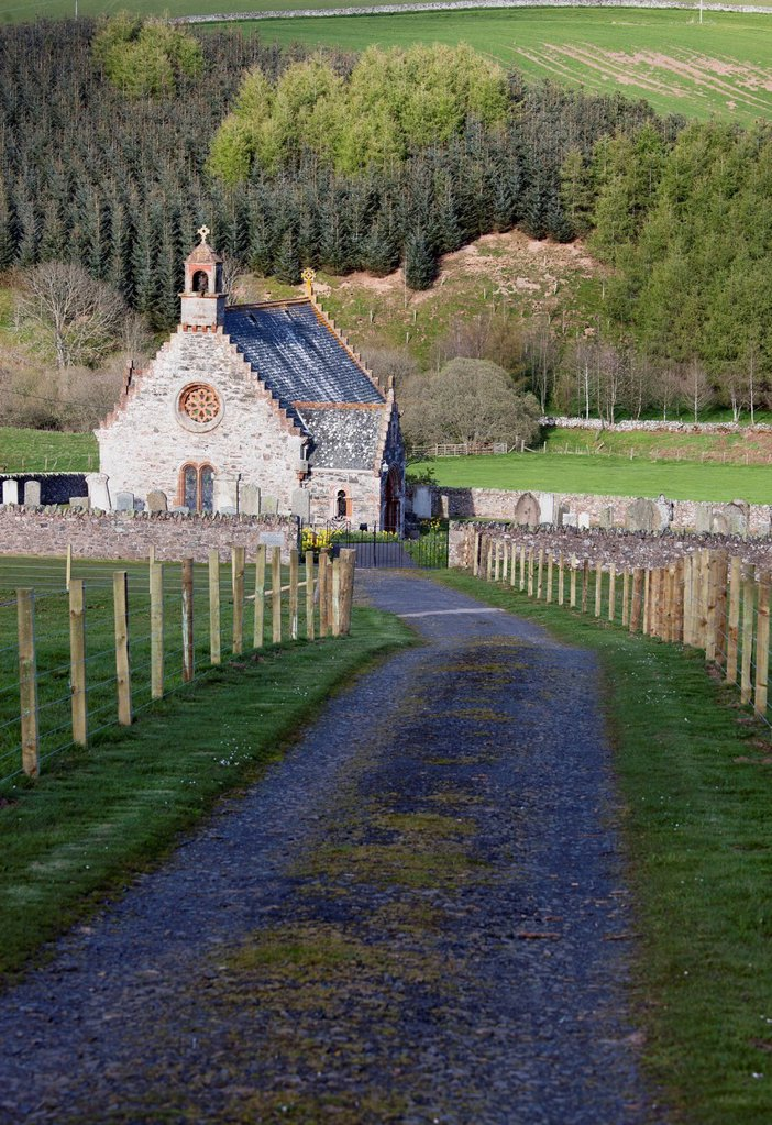 Stock Photo: 1889R-82538 A church and cemetery, scottish borders, scotland