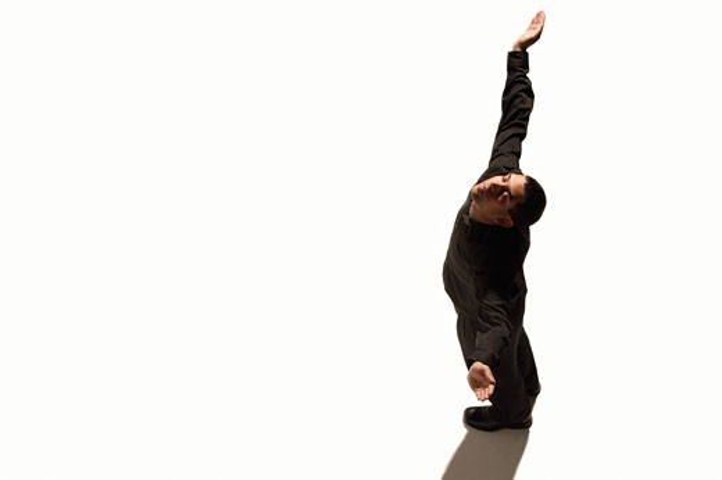 Man arms raised, surrendering : Stock Photo