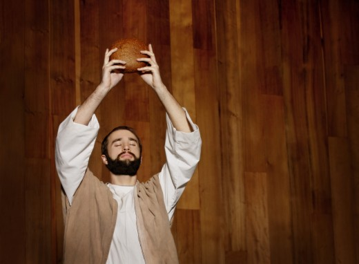 Jesus blessing bread : Stock Photo