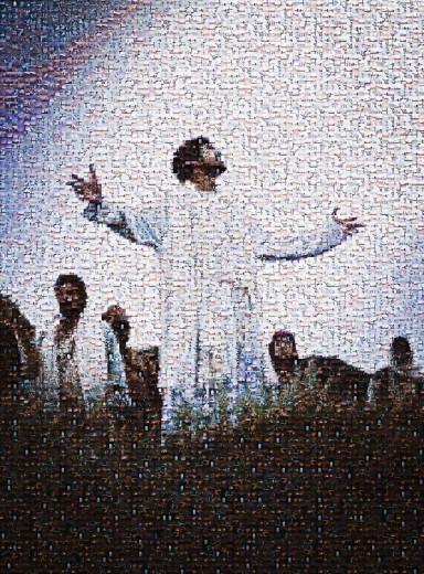 Mosaic of Jesus Christ and crowd : Stock Photo