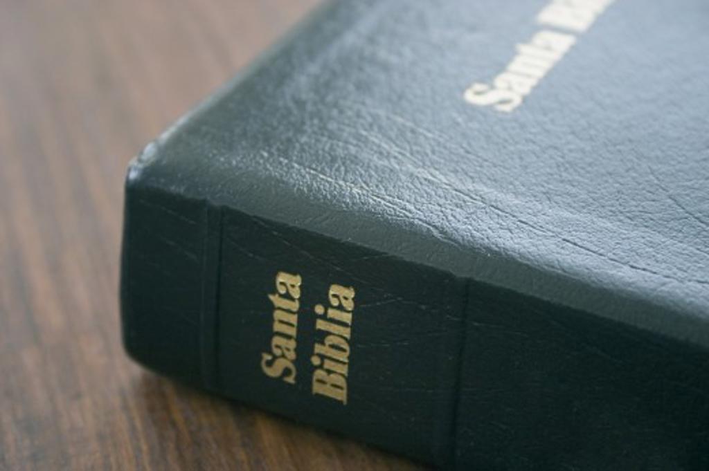 Spanish Bible on table : Stock Photo