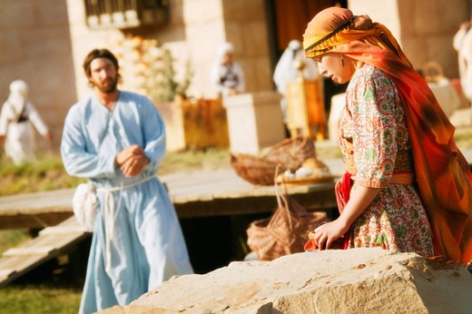 Jesus approaching a woman : Stock Photo