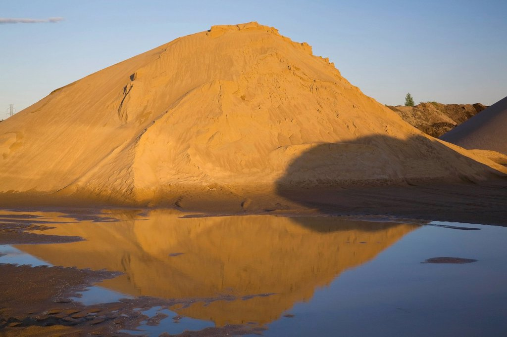Mounds Of Sand In A Commercial Sandpit After A Heavy Rainfall, Quebec Canada : Stock Photo