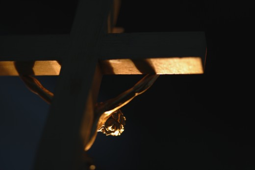 Low angle view of Crucifix : Stock Photo