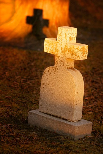 Stock Photo: 1889R-8743 A cross headstone