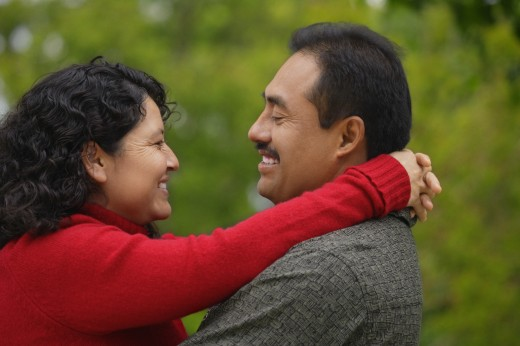 Stock Photo: 1889R-8950 Latino couple embracing