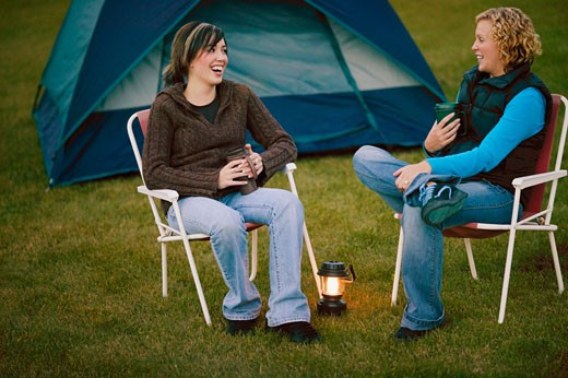 Stock Photo: 1889R-9113 Two women camping