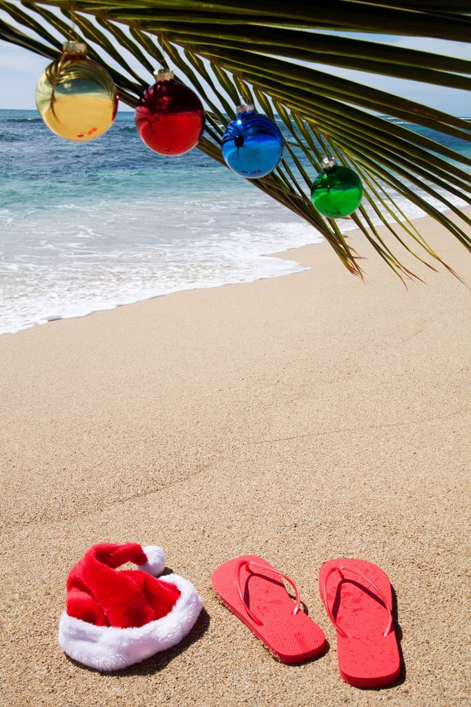 Stock Photo: 1889R-91139 Christmas decorations on the beach;Honolulu oahu hawaii united states of america