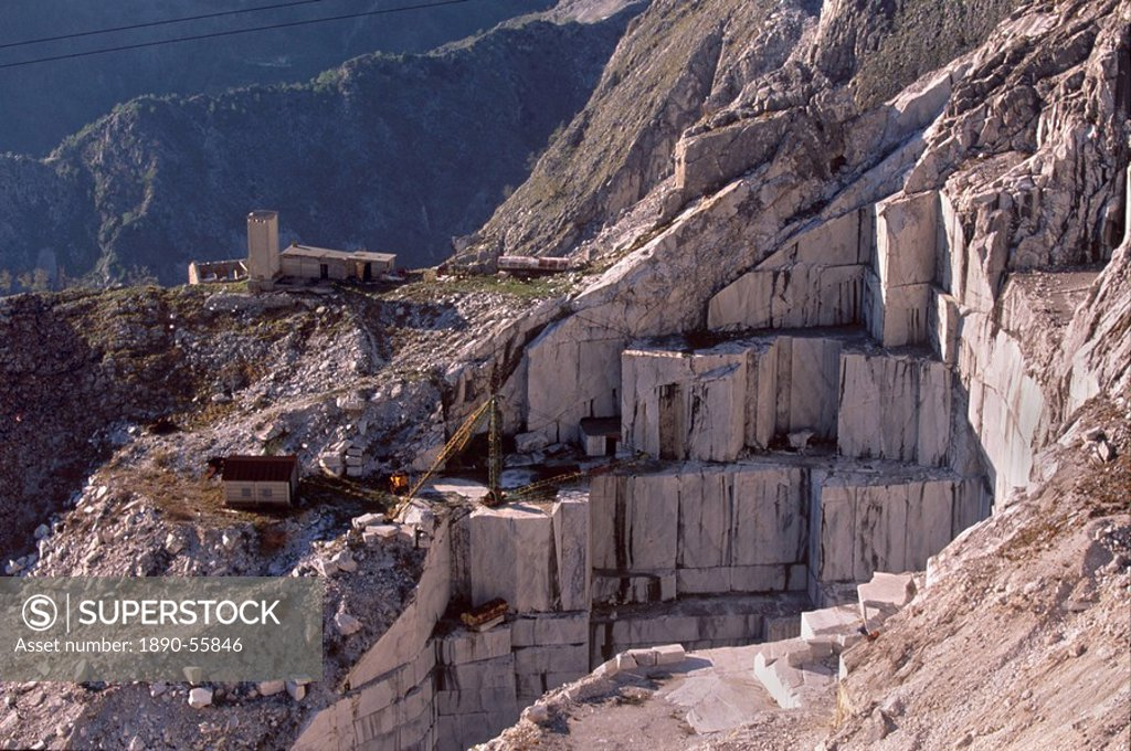 Stock Photo: 1890-55846 Carrara marble quarry near Antona in Apuane Alps, Tuscany, Italy, Europe