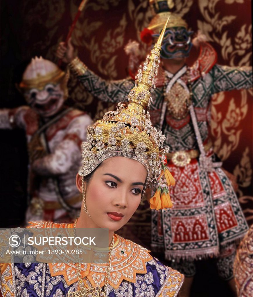 Stock Photo: 1890-90285 Traditional Thai dancers, Thailand, Southeast Asia, Asia