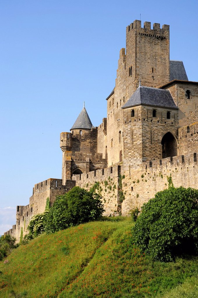 Stock Photo: 1890-100099 Walled and turreted fortress of La Cite, Carcassonne, UNESCO World Heritage Site, Languedoc, France, Europe