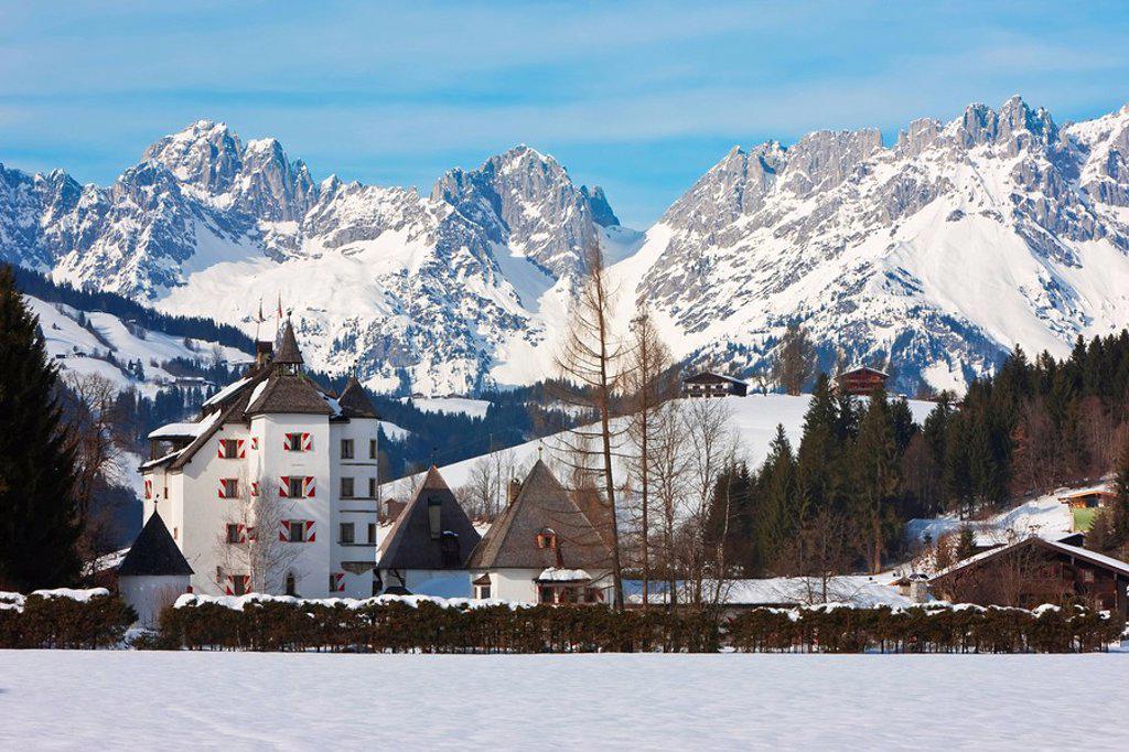 Stock Photo: 1890-100411 Kitzbuhel and the Wilder Kaiser mountain range, Tirol, Austrian Alps, Austria, Europe ,