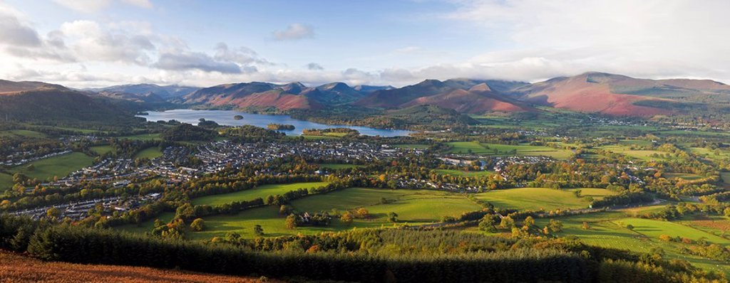 Stock Photo: 1890-100569 View over Keswick and Derwent Water from the Skiddaw Range, Lake District National Park, Cumbria, England, United Kingdom, Europe