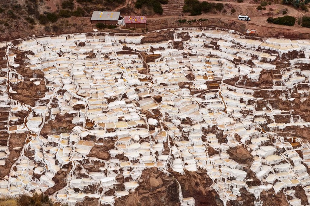 Salinas De Maras salt ponds, Cuzco, Peru, South America : Stock Photo