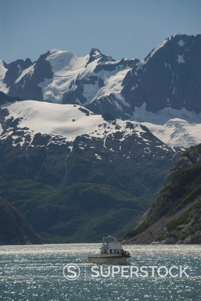 Stock Photo: 1890-101256 Tourist boat, Kenai National Fjord, Prince William Sound, Alaska, United States of America, North America
