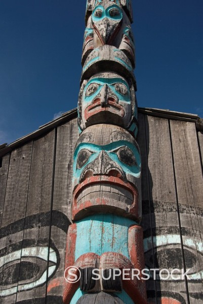 Stock Photo: 1890-101274 Tlingit Totem Pole, Raven´s Fort Tribal House, Fort William Seward, Haines, Alaska, United States of America, North America