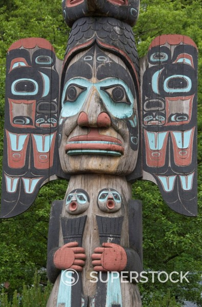 Stock Photo: 1890-101277 Tlingit Chief Johnson Totem Pole, Ketchikan, Alaska, United States of America, North America