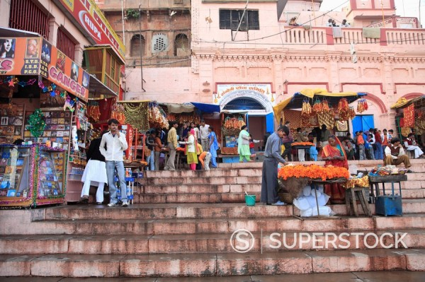 Vendors, Ghats, Varanasi, Uttar Pradesh, India, Asia : Stock Photo