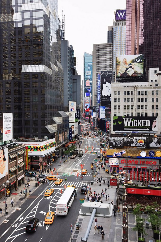 Looking down Broadway towards Times Square, Manhattan, New York City, New York, United States of America, North America : Stock Photo