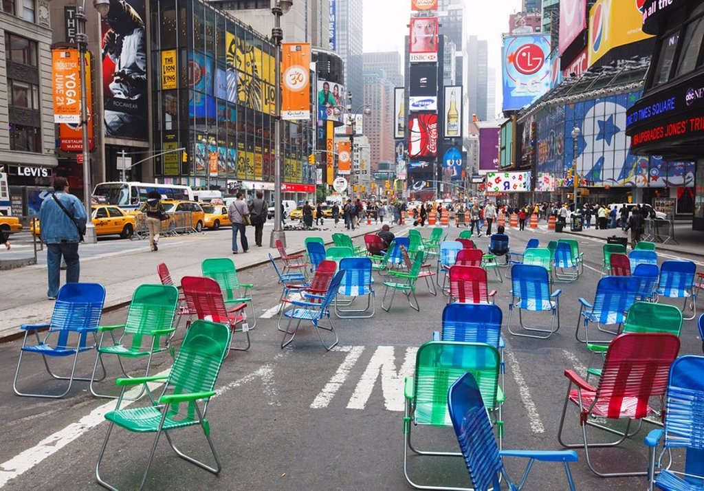 Stock Photo: 1890-102063 Garden chairs in the road for the public to sit in the pedestrian zone of Times Square, New York City, New York, United States of America, North America