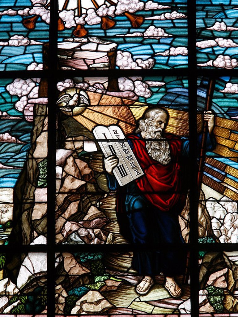 Stained glass of Moses holding the tablets of the Law, Vienna, Austria, Europe : Stock Photo