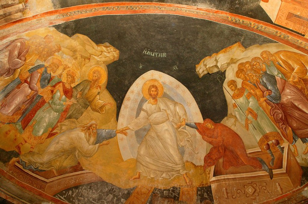 Stock Photo: 1890-102311 Descent of Christ into Limbo, Church of St. Saviour in Chora, Istanbul, Turkey, Europe