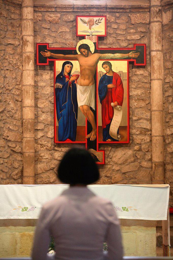 Crucifixion icon in Santo Toribio monastery, Liebana, Cantabria, Spain, Europe : Stock Photo