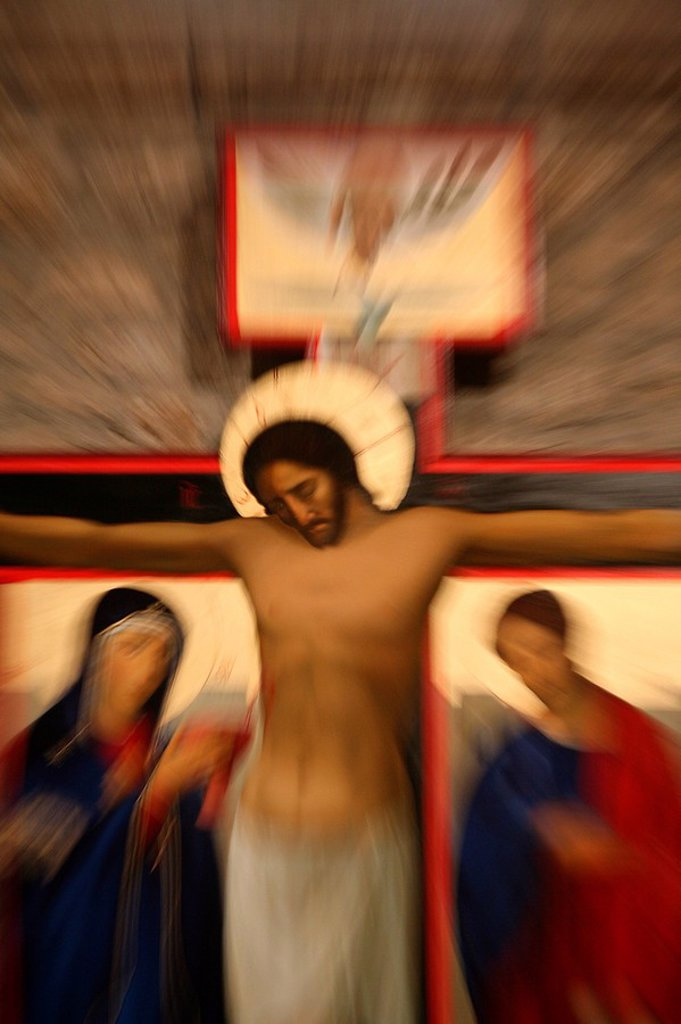 Stock Photo: 1890-102420 Crucifixion icon in Santo Toribio monastery, Liebana, Cantabria, Spain, Europe