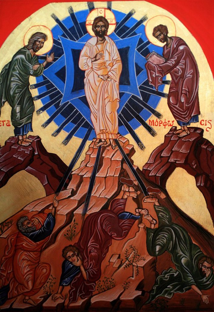 Icon of Jesus´s Transfiguration, Le Bec Hellouin, Eure, Normandy, France, Europe : Stock Photo