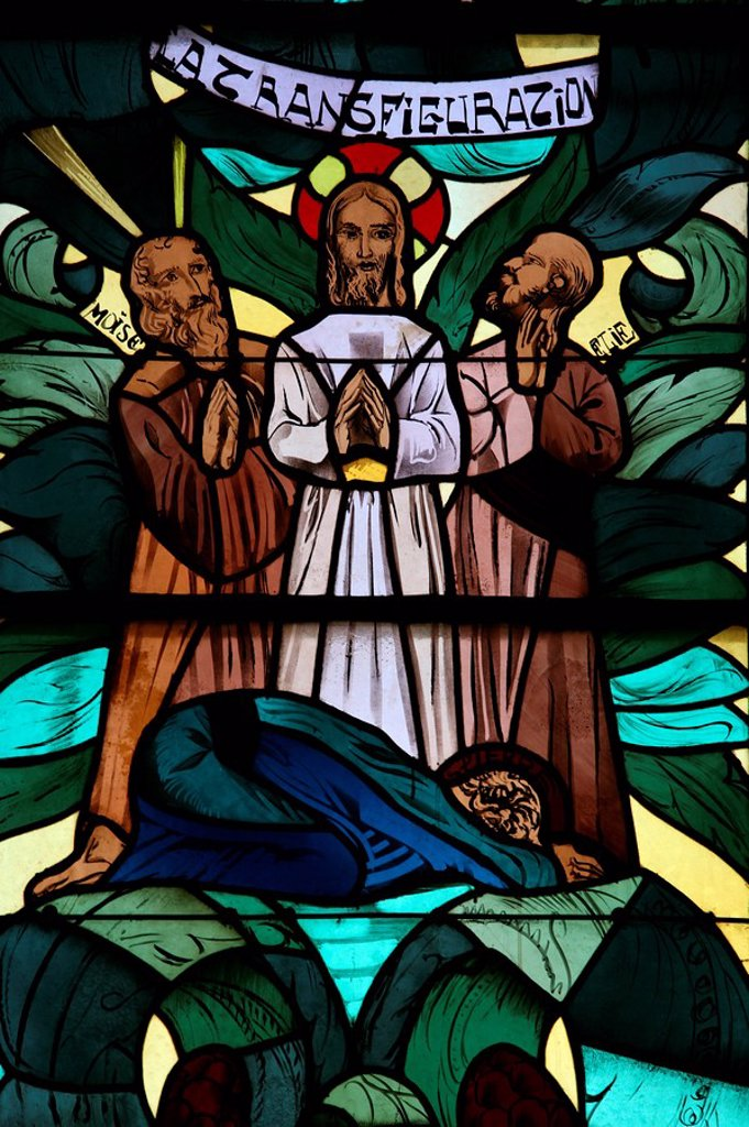 The Transfiguration in the stained glass window of Saint_Joseph des Fins church, Annecy, Haute Savoie, France, Europe : Stock Photo