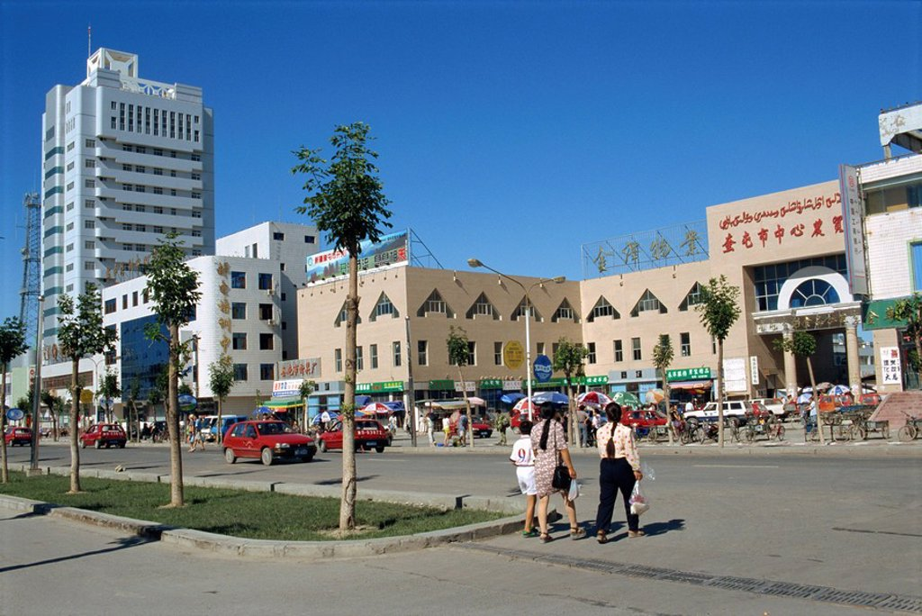 Street scene in the new wealthy town of Kuytun in Xinjiang, China, Asia : Stock Photo