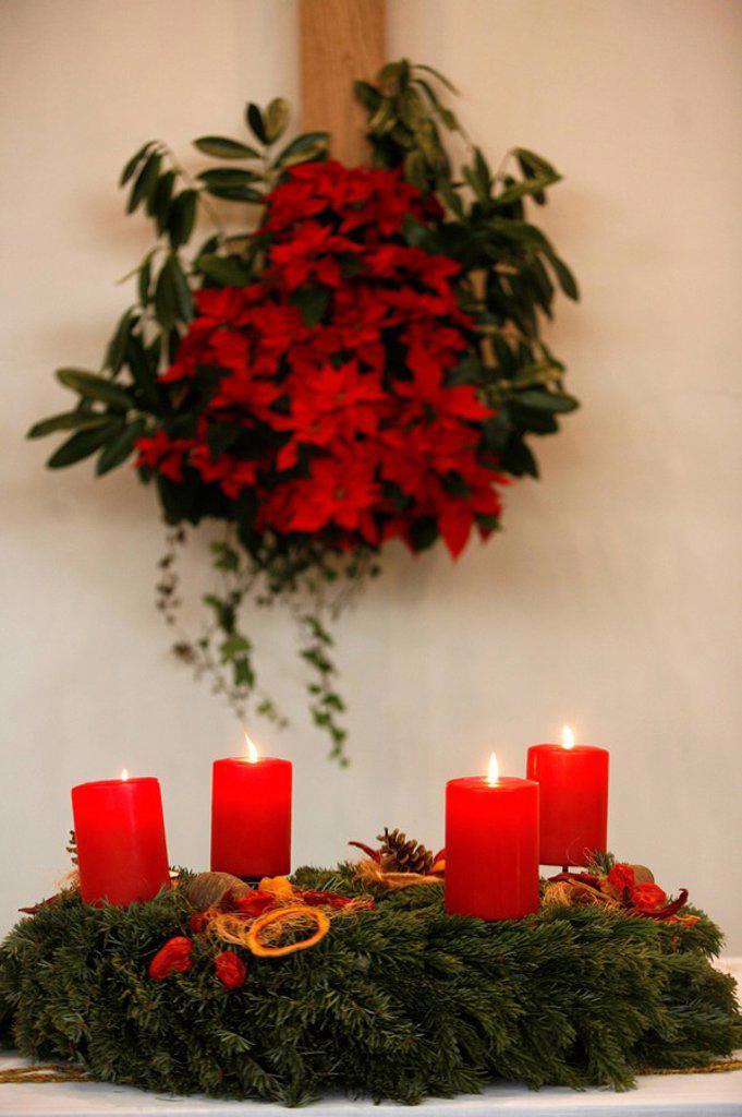 Advent candles, Geneva, Switzerland, Europe : Stock Photo