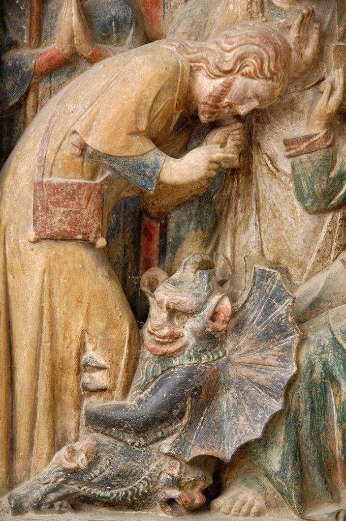 Detail of temptation by the devil, on a 14th century retable depicting St. Thibault´s life, Saint_Thibault_en_Auxois, Doubs, France, Europe : Stock Photo