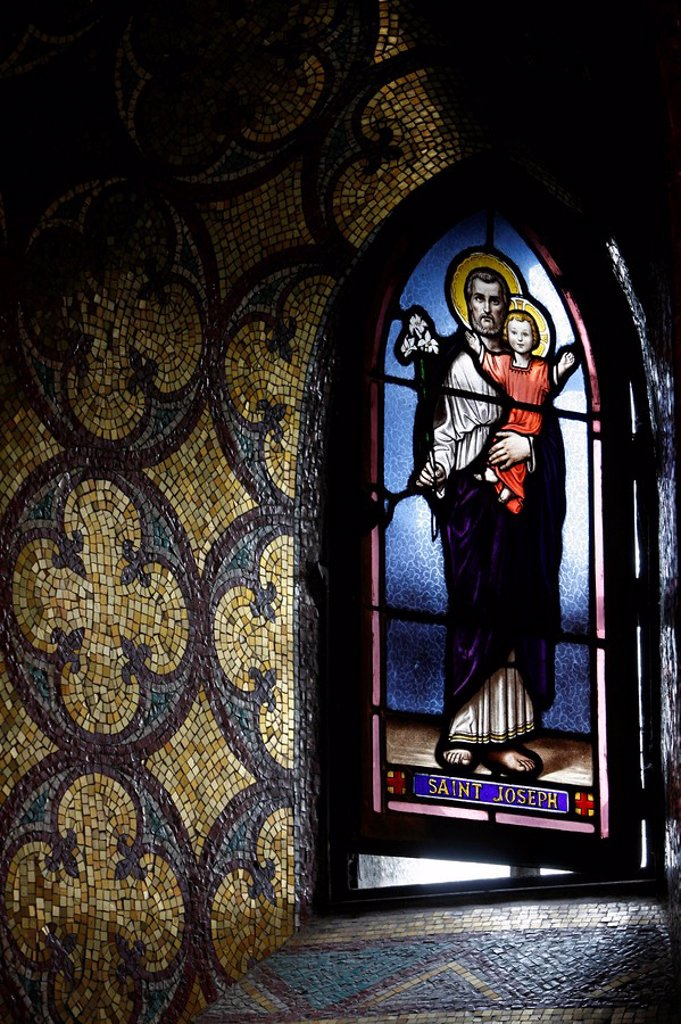 Stock Photo: 1890-103610 Stained glass window, Lourdes, Hautes Pyrenees, France, Europe