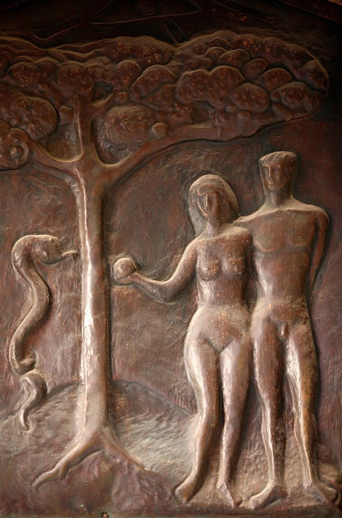 Stock Photo: 1890-103704 Annunciation Basilica door sculpture depicting Adam and Eve, Nazareth, Galilee, Israel, Middle East