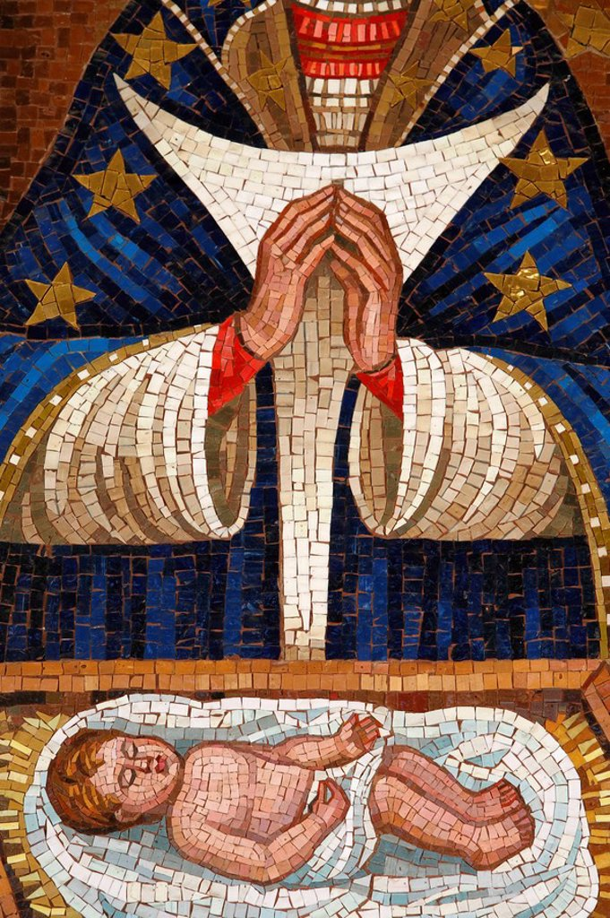 Detail of Slovenian Virgin mosaic, Annunciation Basilica, Nazareth, Galilee, Israel, Middle East : Stock Photo