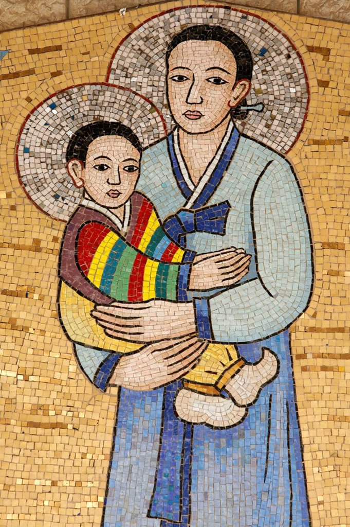 Stock Photo: 1890-103710 Mosaic of Korean Virgin, Annunciation Basilica, Nazareth, Galilee, Israel, Middle East
