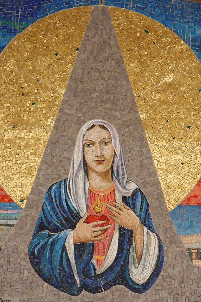 Stock Photo: 1890-103711 Mosaic of Italian Virgin Madonna delle lacrime di Siracusa, Annunciation Basilica, Nazareth, Galilee, Israel, Middle East