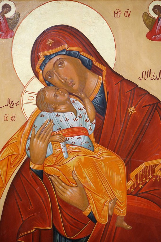 Melkite icon of the Virgin and Child, Nazareth, Galilee, Israel, Middle East : Stock Photo