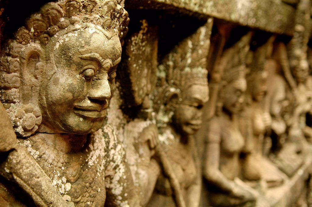 Stock Photo: 1890-103846 Demon statues in Angkor, Siem Reap, Cambodia, Indochina, Southeast Asia, Asia