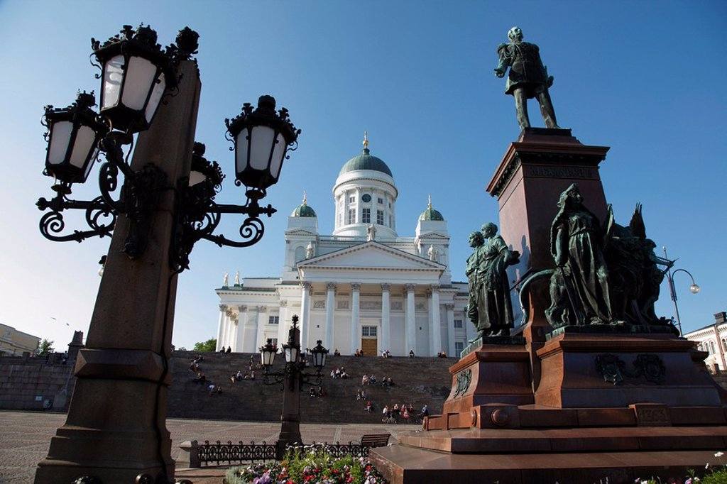 Tsar Alexander II Memorial and Lutheran Cathedral, Senate Square, Helsinki, Finland, Scandinavia, Europe : Stock Photo