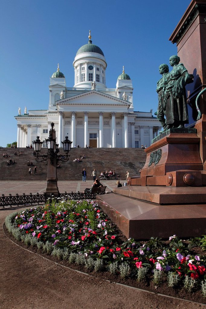 Stock Photo: 1890-104223 Detail of Tsar Alexander II Memorial and Lutheran Cathedral, Senate Square, Helsinki, Finland, Scandinavia, Europe