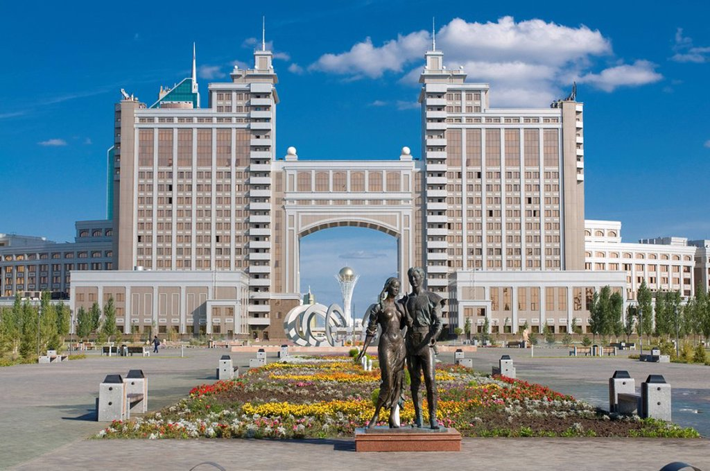 The Kay Munay Gaz building and the Bayterek monument, Astana, Kazakhstan, Central Asia : Stock Photo